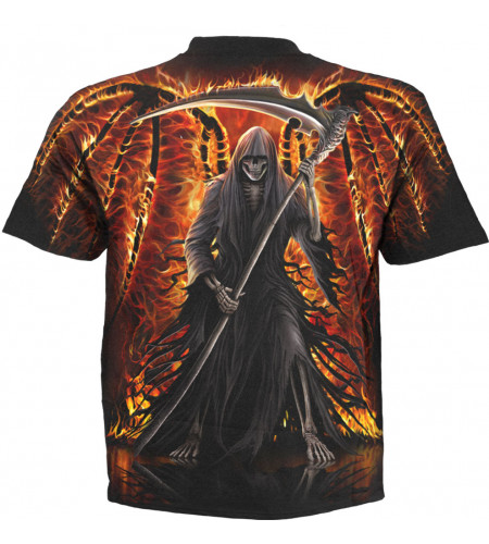boutique gothic t-shirt spiral flaming death
