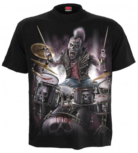 Boutique vente tee shirt rock motif batteur heavy metal zombie backbeat manches courtes spiral