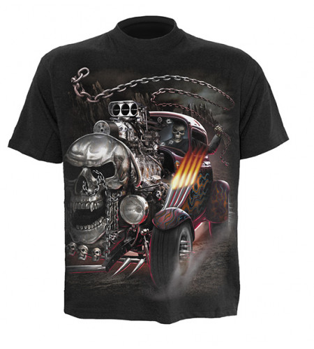 t-shirt dragster squelette homme