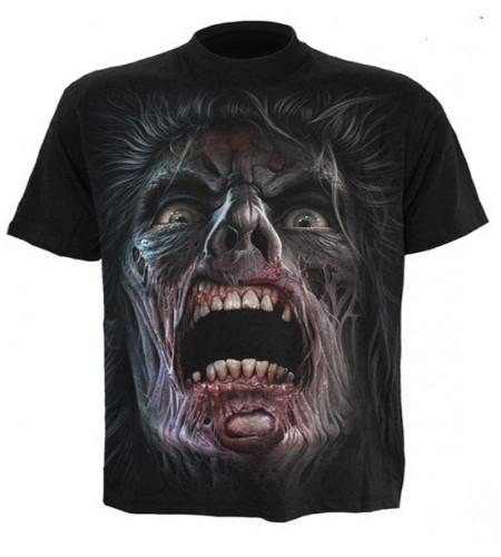 t-shirt motif tête de zombie homme