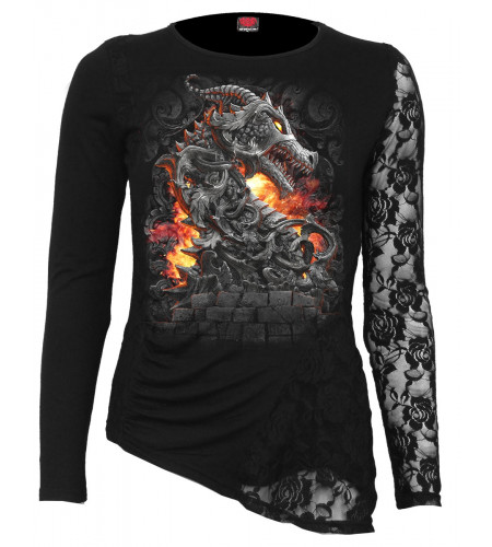 Keeper of the fortress - Tshirt femme dragon - Manches longues