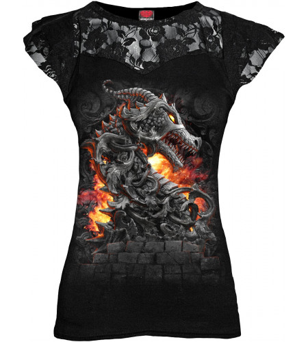 BOUTIQUE VENTE VËTEMNT TEE SHIRT MOTIF DRAGON POUR FEMME KEEPER OF FORTRESS MANCHES COURTES SPIRAL