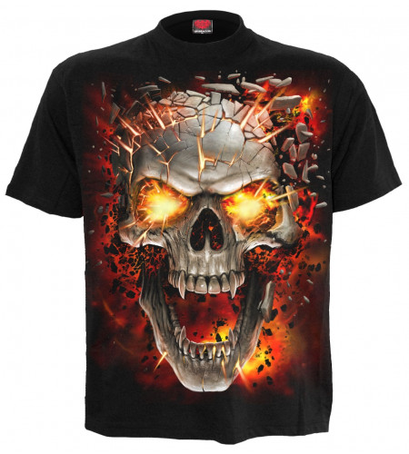 Boutique tee shirt enfant motif dark fantasy crane vampire flamme qpiral manches courtes