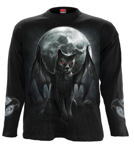 Boutique tee shirt gothic manches longues chat squelette