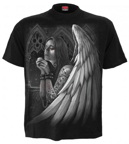 tee shirt gothic femme ange ailée priant et demandant pardon
