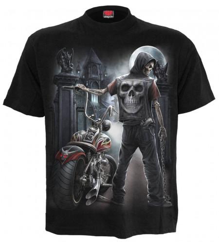 tee shirt moto biker squelette dark fantasy