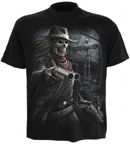 tee shirt homme squelette far west