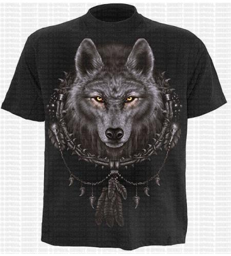 tee shirt loup dreamcatcher indien