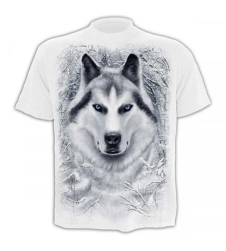 t-shirt tete de loup blanc