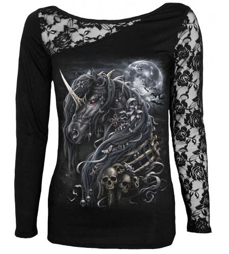 Boutique mode dark fanatsy gothic vente vêtements femme dark unicorn spiral manches longues