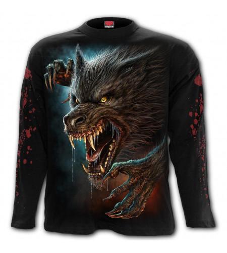 boutique vetement manches longues tee shirt motif loup garou