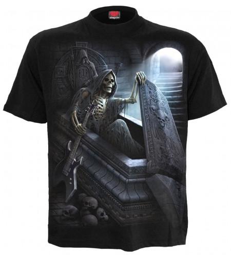 boutique rock vente vetement tee shirt manches courtes motif reaper squelette guitariste