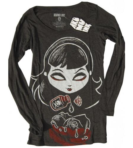 Deadly rose - T-shirt femme gothique manches longues