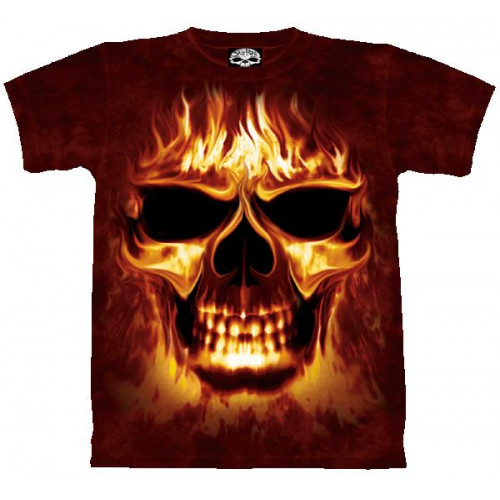 Tee-shirt Skulfire Tête de mort en flamme T-shirt tshirt 4840b5f5f172
