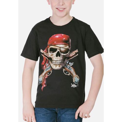 Tee-shirt enfant Tête crâne de Pirate - noir