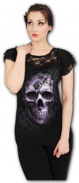 Lace skull - T-shirt femme gothique - Manches courtes