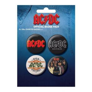 AC-DC Lot de 4 Badges