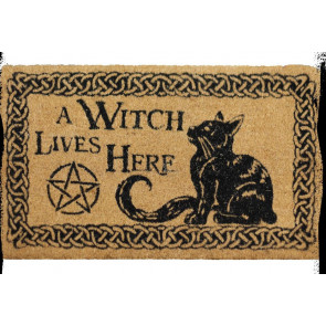 A witch lives here  - Paillasson - Déco chat fantasy - 75x45cm