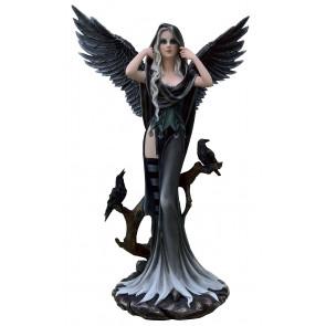Boutique vente statuette décoration gothic dark fantasy ange gohtic et corbeaux