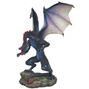 Rearing blue dragon - Figurine statuette (23x21x31cm)