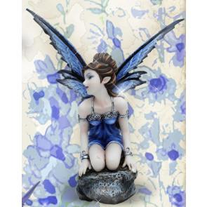 Fée bleue figurine féerique elfe (15x10cm)