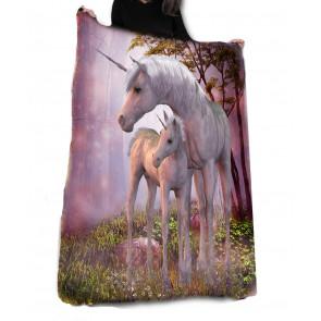 Boutique déco literie motif licorne plaid unicorn family