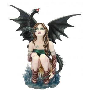 Lady Dragella - Figurine fantasy et dragon (30x16x30cm)