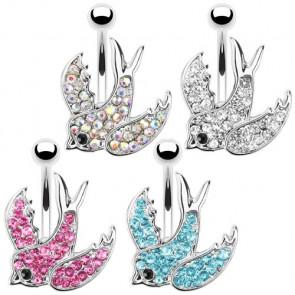 bijoux piercings de nombril motif oiseaux et strass couleur