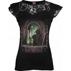 boutique vente vêtement femme tshirt motif chat et fée lisa parker absinthe manches courtes