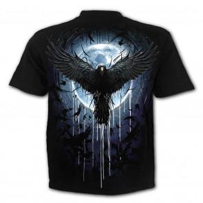 Crow moon - T-shirt corbeau noir - Homme - Manches courtes - Spiral