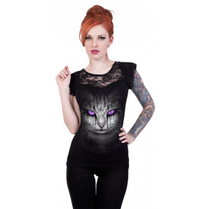 Cat's tears - T-shirt femme chat fantasy - Spiral