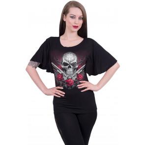 Death pistol - T-shirt femme gothique - crane et révolvers