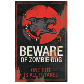 boutique dark fantasy horreur zombies plaque déco chien