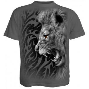 boutique tee shirt motif lion tribal gris