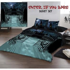 Enter if you dare - Housse couette gothique - 230x220 + 2 taies - Lit 2 personnes