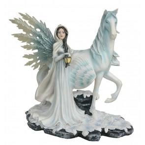 Fée de l'hiver et cheval pégase - Figurine statuette (32x32cm*)