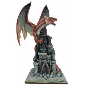 boutique vente statuette dragon rouge grand format déco heroic fantasy