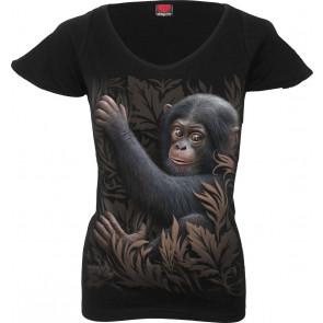 boutique vente tee shirt femme motif singe bébé chimpanzé