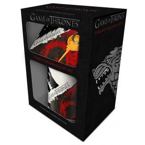 Game of Thrones - Coffret Stark + Targaryen - Mug + 2 accessoires