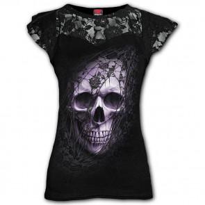 boutique en ligne vetement dark gothic tee shirt femme dentelle lace skull