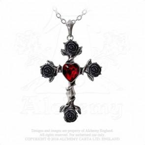 pendentif croix coeur gothique romantique Black Rosifix