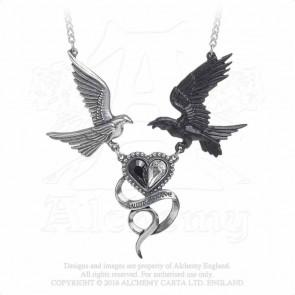 bijou motif colombe et corbeau