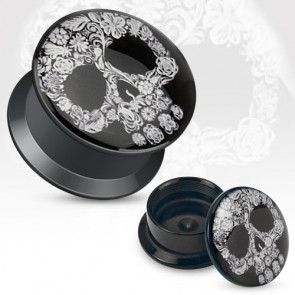 Boutique ve,tre plugs piercing oreille rock crane tete de mort fleurie