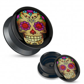 Plug - Violet Sugar Skull - Acrylic