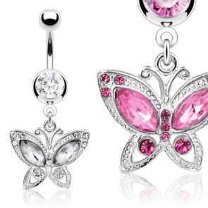 Papillon rose - Piercing nombril - Bijou