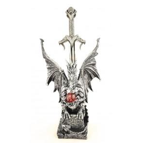 Figurine dragon noir épée ouvre lettre