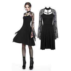 Robe courte sexy gothique - Manches longues - Dark in love