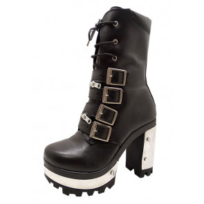 Bottines Lady rock cuir - Chaussures rock gothique