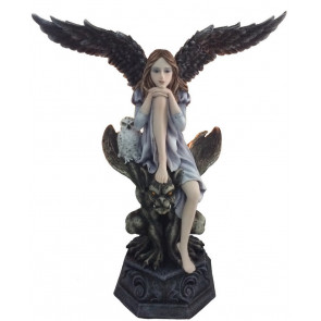 Statuette gothique ange et gargouille (32x28 cm)