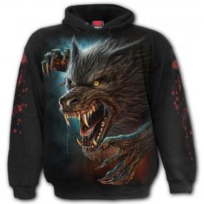 boutique vente vetement motif tete de loup garou sweat shirt gore horreur wild moon